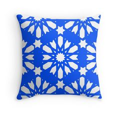 Geometrical Blue - Floral Decor Throw Pillows for your #home available on #RedBubble, take a look