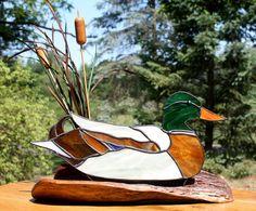 Stained Glass Mallard Duck by BerlinGlass on Etsy, $69.00