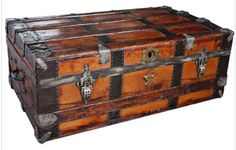 love it, can put them in any room ~ Antique Wooden Steamer Trunk