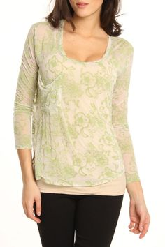 AnM Levona Long Sleeve Top In Olive - Beyond the Rack