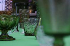 Antique glass engagement table