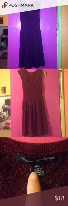 American eagle dress Maroon AE dress with sparkling design. Very comfortable. Falls to knees. Size medium. Check out my other items to bundle! American Eagle Outfitters Dresses