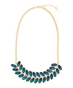 Gold & Teal Leaf Necklace