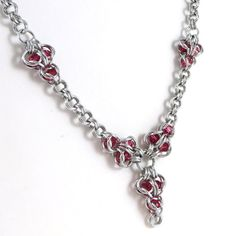 Chainmail Necklace with Swarovski Elements by HCJewelrybyRose on Etsy