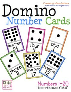Large Domino Number Cards to laminate and display in the classroom