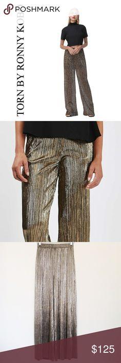 Torn by Ronny Kobo | Metallic Pleated Pants Metallic gold wide leg palazzo pants.  Pull on style with elastic waistband. Torn by Ronny Kobo Pants