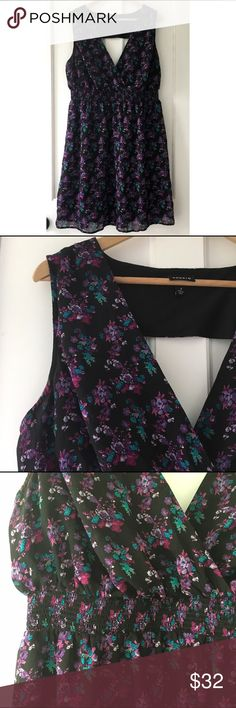 Torrid Black | Purple Floral Open Back Dress Pretty, sexy and flattering! Torrid black and purple floral dress. Smocked waist gives a figure enhancing shape. Love the open back! Fully lined. Size 1 in Torrid sizing is equivalent to a 1X, or a 14 - 16, see size chart in photos. torrid Dresses