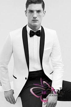 2016 Nueva Llegada Nuevo Estilo Novio Esmoquin Blanco Traje de Solapa negro de Boda Trajes de Novio Traje Por Encargo (Jacket + pantalones + Faja)(China (Mainland))