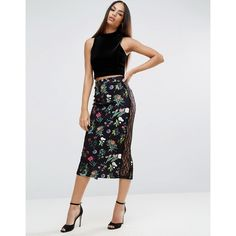 ASOS Pencil Skirt in Floral Print with Lace Trim (105 SAR) ❤ liked on Polyvore featuring skirts, multi, high-waisted skirts, lace skirt, party skirts, lace pencil skirt and high-waist skirt