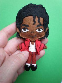 made out of felt & fimo Michael Jackson Beat It, Michael Jackson Party, Felt Animal Patterns, Stuffed Animal Patterns, Bear Doll, Felt Fabric, Felt Toys, Felt Art, Felt Ornaments