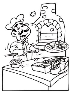 Mazes For Kids, Art For Kids, Activities For Kids, Food Coloring Pages, Coloring Sheets, People Who Help Us, Pizza Day, Pizzeria, 100 Days Of School