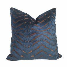 Robert Allen Magnetism Navy Blue Brown Italian Cut Velvet Pillow Cover