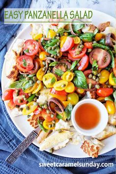 Simple Panzanella Salad with bread and tomatoes is a great feature on any table! This summer salad is packed with flavour with a simple balsamic vinegar dressing. #panzanellasalad #summersalad… More