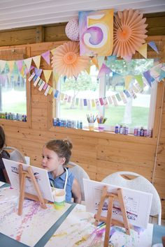 Rowan turned 5 on Saturday! What a big girl she is! For the past year, almost daily, she's talked about what theme she's wanted to have for her birthday. Her ideas changed every few days depending on Artist Birthday Party, 5th Birthday Party Ideas, Happy 5th Birthday, Birthday Fun, Birthday Parties, Artist Party Ideas, Girl Spa Party, Pastel, Art Party