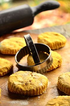 Pumpkin Biscuits - they are as good as they look and so simple! I used cream cheese and 1 cup of organic pumpkin! ReluctantEntertainer.com