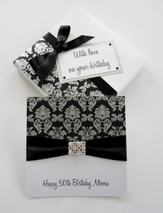 Silver damask print birthday card