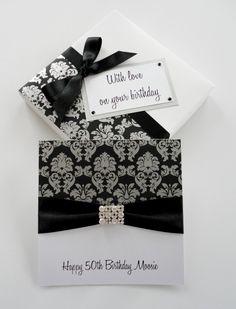 Silver damask print birthday card