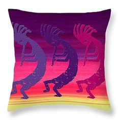 "Kokopelli Rainbow at Sunrise Throw Pillow 14"" x 14"""