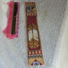 loom beadwork-Golden Eagle Feather-15 inches by 2 inches-ready to sew