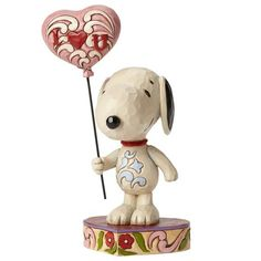I Heart U—Snoopy With Heart Balloon Figurine | The perfect gift for Peanuts® lovers on Valentine's Day. Snoopy says, I Love You, with a heart-shaped balloon.