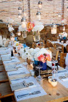 Greek wedding reception - photo by Rossini Photography http://ruffledblog.com/breezy-destination-wedding-in-mykonos