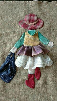 Ulla's Quilt World: Quilt bag - Japanese patchwork Sewing Appliques, Applique Patterns, Quilt Patterns, Sewing Patterns, Hand Applique, Wool Applique Quilts, Applique Tutorial, Applique Ideas, Patchwork Patterns