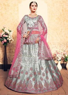 Grab this mind-blowing elegant looking Stylish Party Wear Casual Lehenga Choli for Women. This latest fashion heavy designer lehenga made from satin fabric and designed with embroidered work on whole outfit. Indian Lehenga, Green Lehenga, Bollywood Lehenga, Bollywood Style, Bollywood Wedding, Indian Bollywood, Designer Bridal Lehenga, Bridal Lehenga Choli, Silk Lehenga