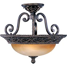 hALLWAY UPSTAIRS Pyramid Creations 18-in W Oil-Rubbed Bronze Frosted Glass Semi-Flush Mount Light