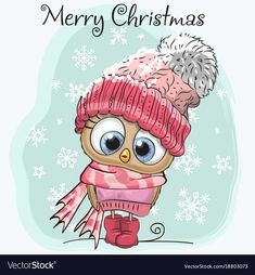 Cute cartoon owl in a hat vector image on VectorStock Christmas Labels, Christmas Owls, Christmas Clipart, Owl Cartoon, Cute Cartoon, Hat Vector, Disney Cartoon Characters, Holiday Wallpaper, Owl Always Love You