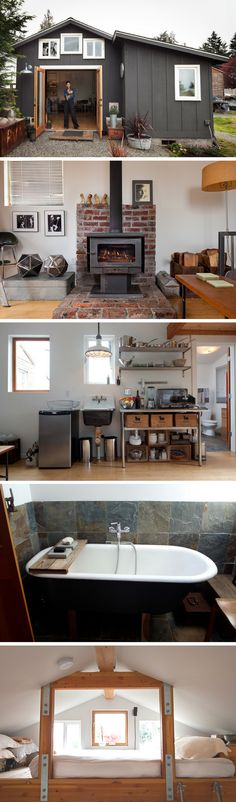A former garage, transformed into a stunning modern home. - Home Decors Tiny House Living, Small Living, Brick Cottage, Sweet Home, Casas Containers, Tiny House Nation, Tiny House Movement, Tiny Spaces, Little Houses