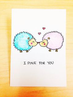 Funny love card for boyfriend, cute love card, I pine for you card, cute porcupine card, cute anniversary card, hand drawn card by LoveNCreativity