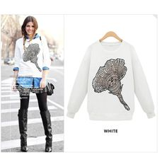 New Arrival Fashion Autumn Winter Women Long Sleeve Geometry Bottoming Shirt Print T-Shirt Trumpet Flower Pullovers Sweatshirts