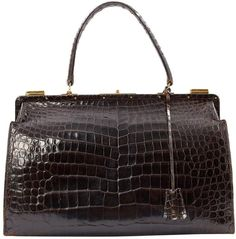 b4f8dce982f Crocodile handbag Hermès Brown in Crocodile - 6199963