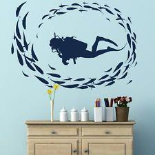 Scuba Diver el Submarinismo Peces arte de pared calcomanía Kids Vinilo esténcil Nuevo Ra10