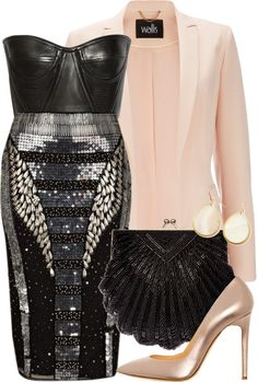 Black sequins with pink shoes and jacket #bling