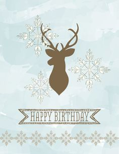 Digital birthday card with Watercolored Winter Kit
