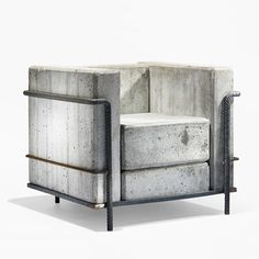 Swiss designer Stefan Zwicky re created the iconic LC2 armchair by Le Corbusier . via the.concrete.project- concrete, furniture, design