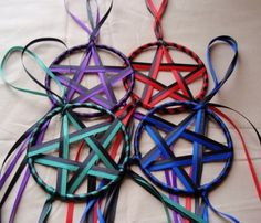 ~Inspiration! Ribbon Stars - Set of 4 Elemental Colors Red Blue Green Purple and Black Yule or Christmas Ornaments