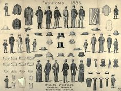 Fashions from William Whiteley's Westbourne Grove store, Image property of Westminster City Archives. 1880s Fashion, Edwardian Fashion, Vintage Fashion, Victorian Mens Clothing, Victorian Era, Mens Evening Wear, Evolution Of Fashion, 19th Century Fashion, Fashion Plates