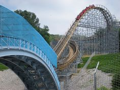 Waldameer Roller Coaster....Turnaround and bridge over Peninsula Drive.