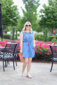 GlamGrace - By Tabby Chambray and gladiator sandals