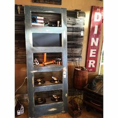 "Antique Door Bookshelf w/ Chalkboard and Hand Painted ""Diner"" sign to the right.  Offered by B Inspired Designs - Rustic Chic Love! http://www.binspireddesigns.net http://www.facebook.com/binspireddesigns"