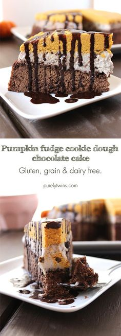 Gluten-free grain-free dairy-free pumpkin fudge raw cookie dough plantain chocolate cake recipe. A sinfully delicious healthy dessert. Lovely cake to enjoy after dinner.