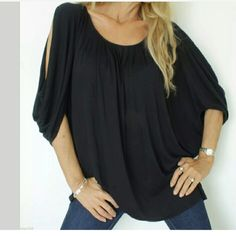 New one size top BCBG MAX AZRIA NEW JERSEY OVER SIZED TUNIC  PLEATED NECKLINE WITH A DRAPE LOOK BODICE DOLMAN SLEEVE WITH SLIT SHOULDERS LOOSE OVERSIZED FIT BLACK .ONE SIZE FITS MOST THIS IS A MUST SEE TOP AS PICTURES ARE HARD TO SHOW THE FRONT LOOK. Nwot BCBGMaxAzria Tops Tees - Short Sleeve