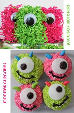 Monster Party pinata and cupcakes Monster Party, Monster Birthday Parties, First Birthday Parties, First Birthdays, Monster Treats, Monster Mash, Baby Birthday, Birthday Bash, Birthday Ideas