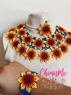 Mexican Shirts For Men, Maxi Collar, Handmade Beaded Jewelry, Floral Necklace, Bead Art, African Fashion, Jewelry Sets, Mexico, Outfits