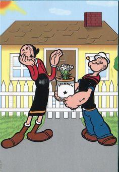 Popeye and Olive Oyl postcard | eBay Famous Cartoon Couples, Famous Cartoons, Couple Cartoon, Old Cartoons, Funny Cartoons, Cartoon Humor, Classic Cartoon Characters, Classic Cartoons, Olive Oil Cartoon