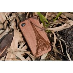 Eiffel Tower Pattern Bamboo Mobile Phone Case for...