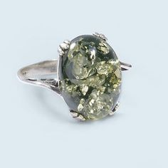 Green Amber ring, pretty much perfect, wow.