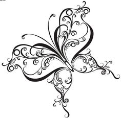 Free Swirls Butterfly Tattoo Design